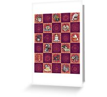 Kitten Tea Party Blocks Alternating with Baroque Medallions Greeting Card