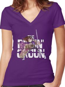 The Ragin' Cajun (Gambit; Purple Background) Women's Fitted V-Neck T-Shirt