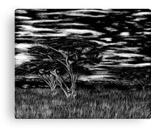Kenya Landscape Etching Canvas Print