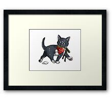 Strawberries and Cream Thief Kitten Tea Party Framed Print