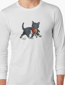Strawberries and Cream Thief Kitten Tea Party Long Sleeve T-Shirt