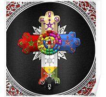 Rosy Cross - Rose Croix in Silver on Black Poster