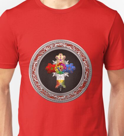 Rosy Cross - Rose Croix in Silver on Black Unisex T-Shirt