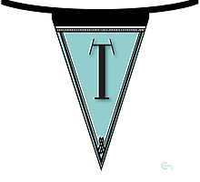 Manhattan 1920s Deco Blues Banner… Monogram letter initial T by CecelyBloom