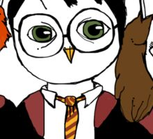 Harry, Ron and Hermione as Owls Sticker