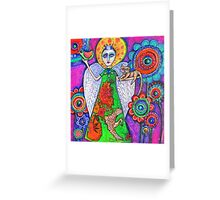 Angel with lots of flowers Greeting Card