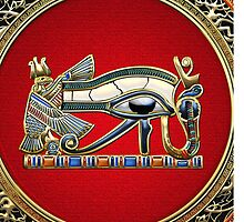 The Eye of Horus in Gold on Red  by Serge Averbukh