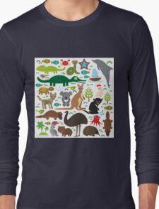 Australia: koala, snake, turtle, crocodile, kangaroo, dingo Long Sleeve T-Shirt