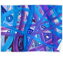 Blue, Purple Paths Abstract Painting Poster