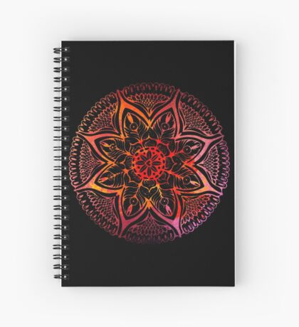 Mandala#3. Hand draw  ink and pen on textured paper Spiral Notebook