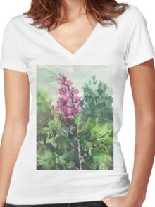 watercolor flowers Women's Fitted V-Neck T-Shirt