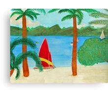 Tropical Beach View of a Virgin Island Canvas Print