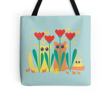 Rabble Of Butterflies In Tulip Garden Tote Bag