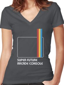 SUPER FUTURE ARCADE CONSOLE Women's Fitted V-Neck T-Shirt