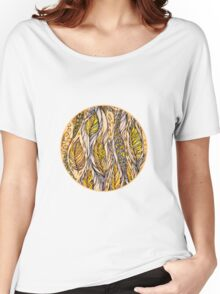 Autumn Dreams.Hand draw  ink and pen, Watercolor, on textured paper Women's Relaxed Fit T-Shirt