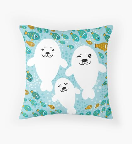 White cute fur seal and fish in water Throw Pillow