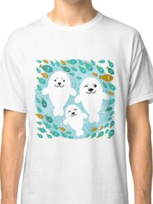 White cute fur seal and fish in water Classic T-Shirt