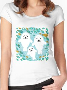 White cute fur seal and fish in water Women's Fitted Scoop T-Shirt