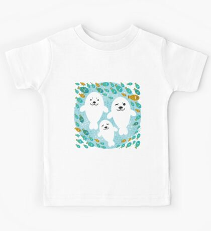 White cute fur seal and fish in water Kids Tee