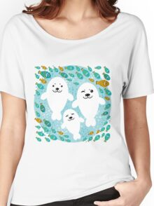 White cute fur seal and fish in water Women's Relaxed Fit T-Shirt