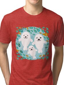 White cute fur seal and fish in water Tri-blend T-Shirt