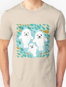 White cute fur seal and fish in water Unisex T-Shirt
