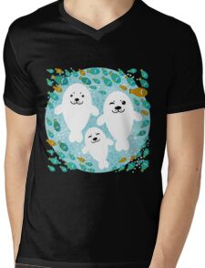White cute fur seal and fish in water Mens V-Neck T-Shirt