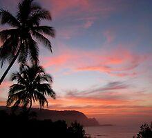Na Pail Coastine Sunset - Princeville/Hanalei Bay by AngieB