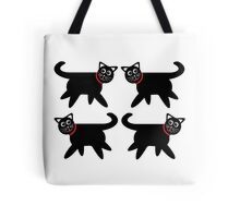 4 Black Cats in Red Collars Tote Bag