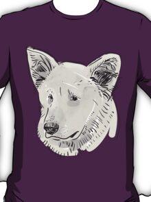 Shepherd. Sketch drawing. Black contour on a purple grunge background. T-Shirt