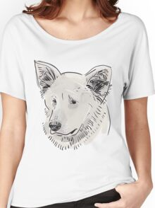 Shepherd. Sketch drawing. Black contour on a purple grunge background. Women's Relaxed Fit T-Shirt