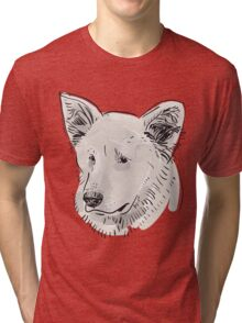 Shepherd. Sketch drawing. Black contour on a purple grunge background. Tri-blend T-Shirt