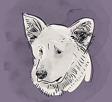Shepherd. Sketch drawing. Black contour on a purple grunge background. by EkaterinaP