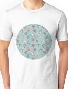 pattern with hearts. Blue, pink, brown Unisex T-Shirt