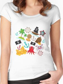 Marine pirate pattern Women's Fitted Scoop T-Shirt