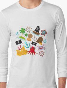 Marine pirate pattern Long Sleeve T-Shirt