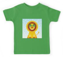 Funny cartoon lion and sky background.  Kids Tee