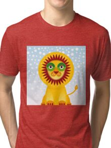 Funny cartoon lion and sky background.  Tri-blend T-Shirt