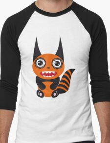Cute cartoon orange monster Men's Baseball ¾ T-Shirt