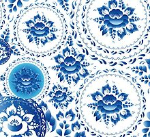 Vintage pattern with blue flowers and leaves  by EkaterinaP