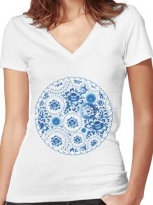 Vintage pattern with blue flowers and leaves  Women's Fitted V-Neck T-Shirt