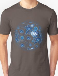 Vintage Seamless pattern with blue flowers and leaves  T-Shirt