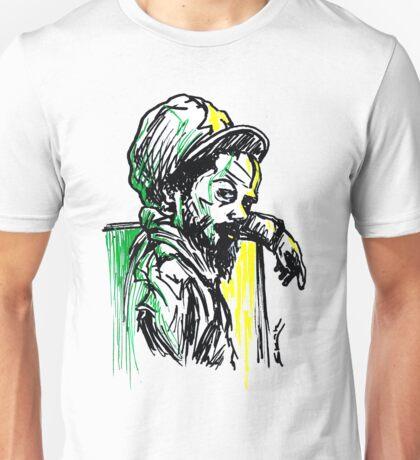 Rastafarian Leaning on Wall Unisex T-Shirt