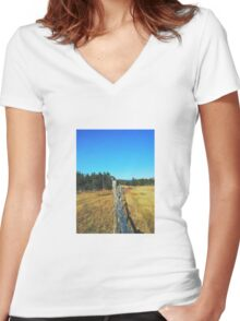 On the Fence Women's Fitted V-Neck T-Shirt