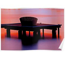 Wicker chair on jetty Poster