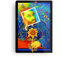 Van Gogh with Sunflower Metal Print