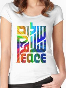 Language of Peace - Hebrew, Arabic, and English. Women's Fitted Scoop T-Shirt