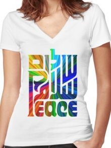 Language of Peace - Hebrew, Arabic, and English. Women's Fitted V-Neck T-Shirt