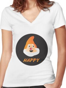 HAPPY DWARF Women's Fitted V-Neck T-Shirt