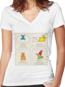 Euclid's Elements Book 1 GeoBunnies 4-Panels Women's Fitted V-Neck T-Shirt